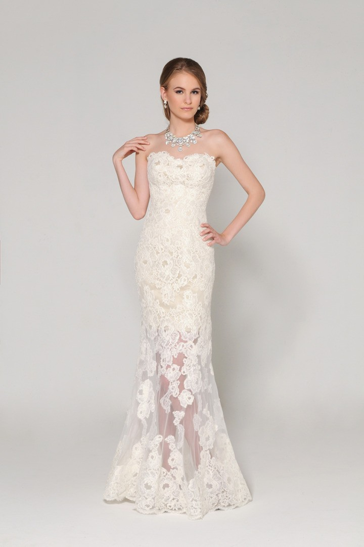 Elegant Mermaid Strapless Off The Shoulder Lace See Through Floor Length Wedding Dress Transparent Lace Up 2015