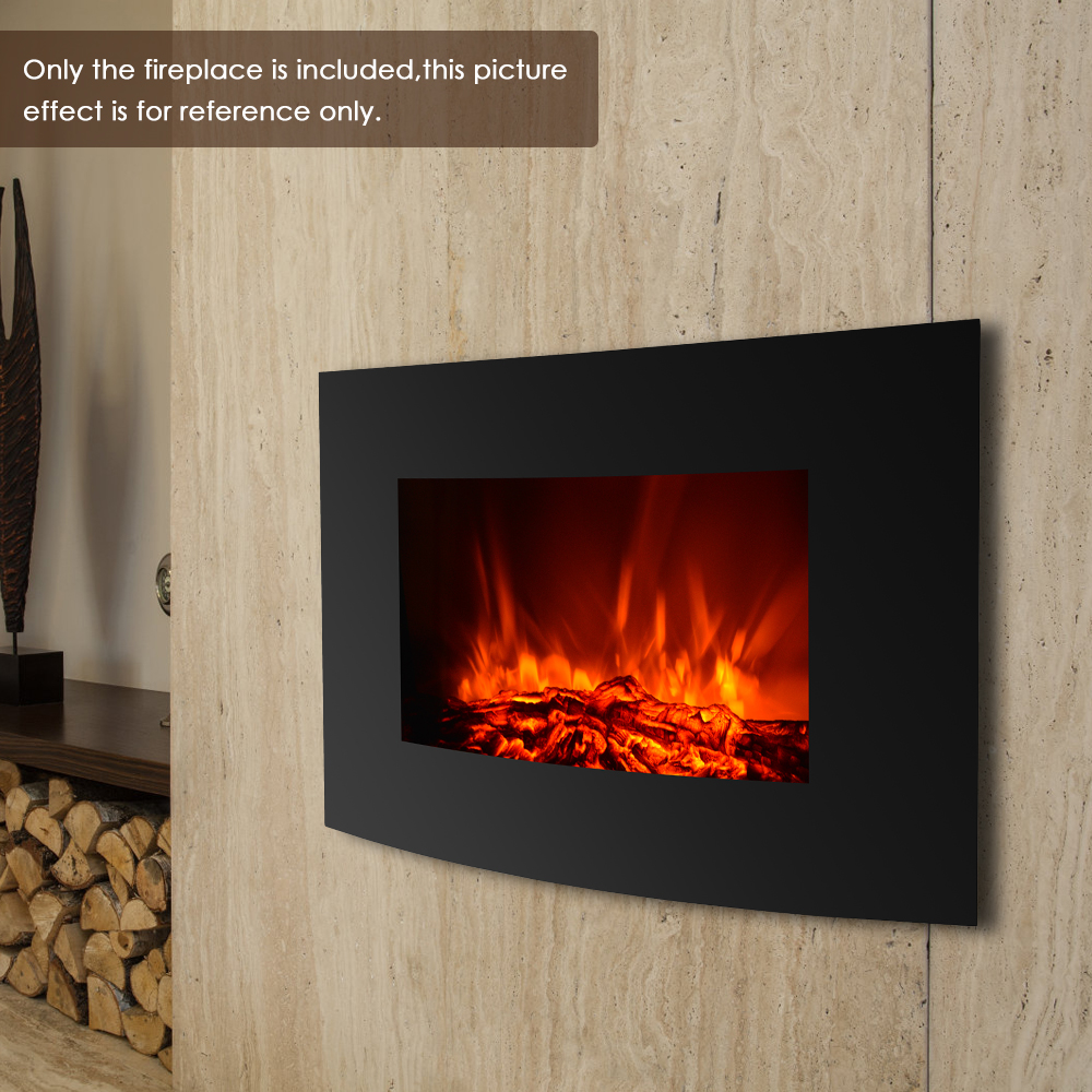 IKAYAA Electric Wall Mount Fireplace 3D Flame Heater Remote Control Fireplace For Home Temperature Adjustable Electric Fireplace