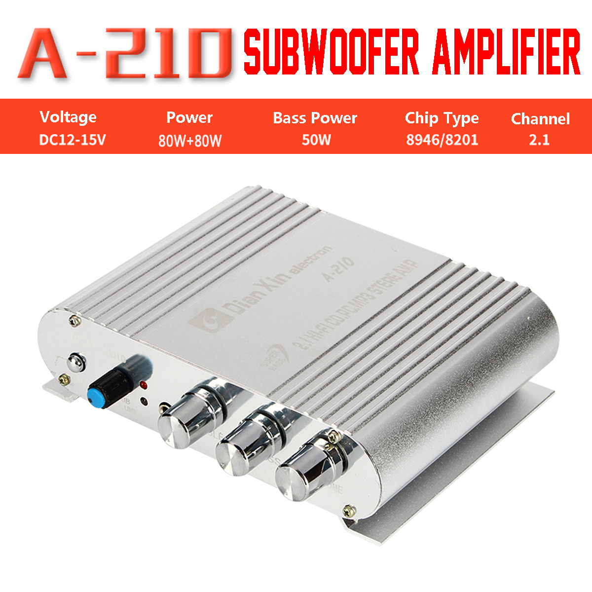 Hi-Fi Car Channel Amplifier 12V 2.1CH A-210 Speaker Car Motorcycle Bass Audio Power Amplifier Hi-Fi MP3 Audio Stereo DX-210