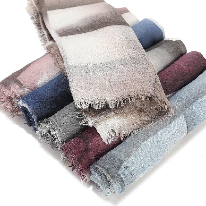 2019 Warm Winte Plaid Cotton Crinkle Scarf For Women Muslim Vintage Wrap Shawl Blanket Scarf Head Hair Female Hijab Scarves