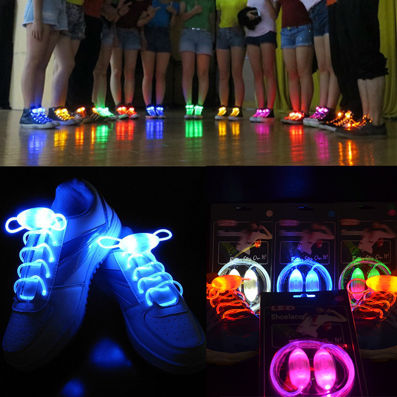 1 Pair Flat Shoes Laces Shoes Strap Glowing Strings OIive Shape Flashing Light Shoelaces Accessories LED Disco Party Decor