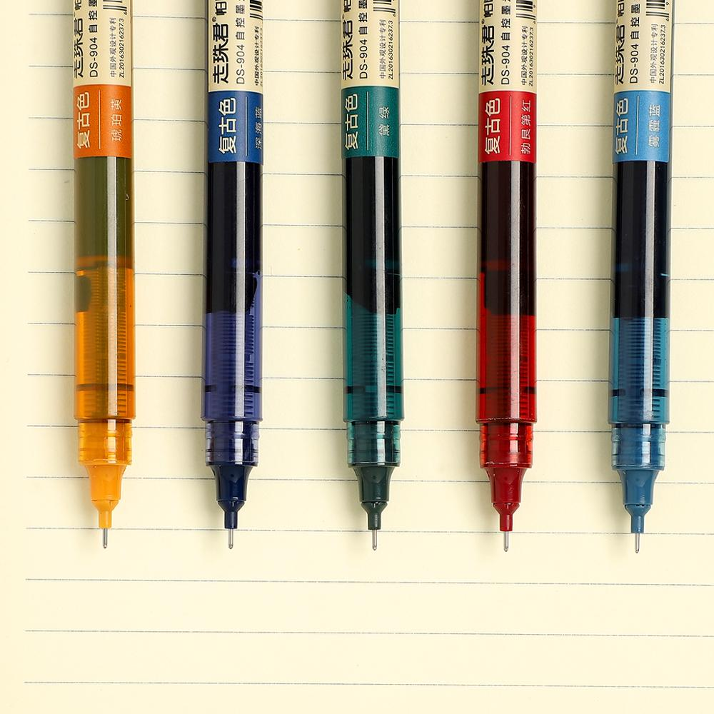 JIANWU 1pc Or 5pcs/set 0.5mm Retro Straight Liquid Pen Creative Water Pen Bullet Journal Pen Bright Ink Pen Office Supplies