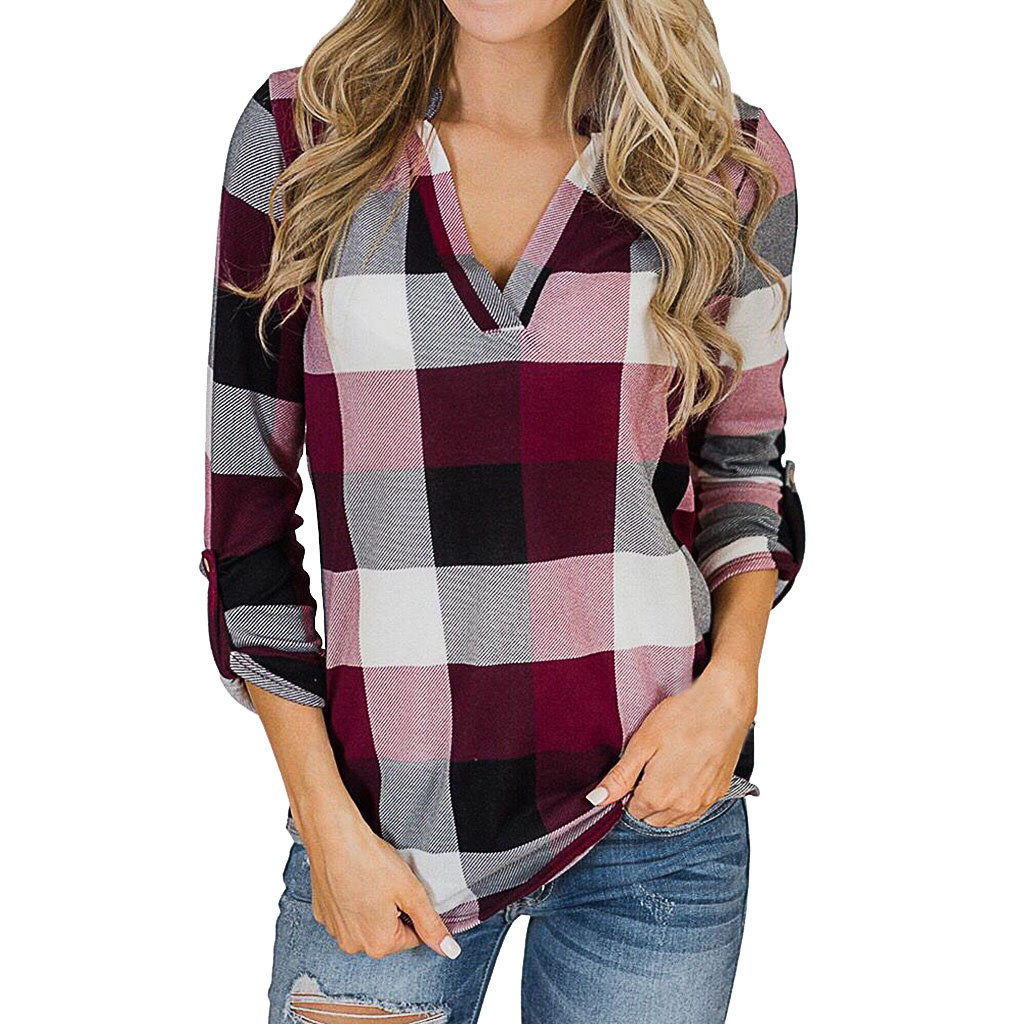 Lady Blouses Basic Tops Fashion Womens V-Neck Long Sleeves Plaid Print Easy Blouse Tops Shirt Casual Tops Plus Size