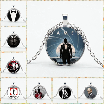 Movie James Bond 007 Necklace High Quality Convex Glass Pendant Necklace Gentleman Men's Accessories image