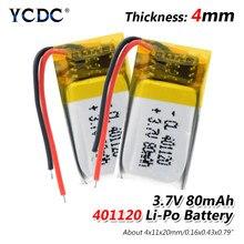 1/2/4 stücke 80mAh 401120 3,7 V Li Ion Akku Li Polymer Batterie Für MP3 MP4 GPS Bluetooth lautsprecher Headset Led Licht Mini Fan