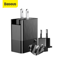 "Baseus 3 יציאת USB מטען 3 in1 לשלושה האיחוד האירופי ארה""ב Plug בריטניה 2.4A נסיעות מטען קיר מתאם USB נייד טלפון מטען"