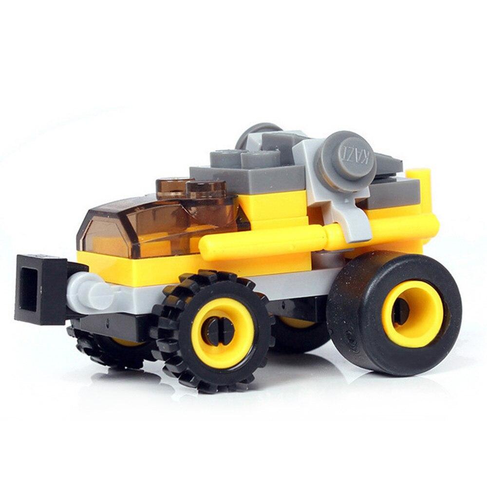 Kids DIY Blocks Toy Education Assembly Car Blocks Engineer Forklift Navy Drilling Roller Building Blocks Racing Trailer Car Toys