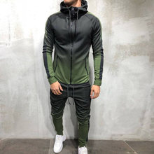 Brand Men Tracksuit 2 Pieces Men's Jacket Casual Hooded Sportswear Zipper Coat+Pants Sweatshirt Men Sports Suit Clothing