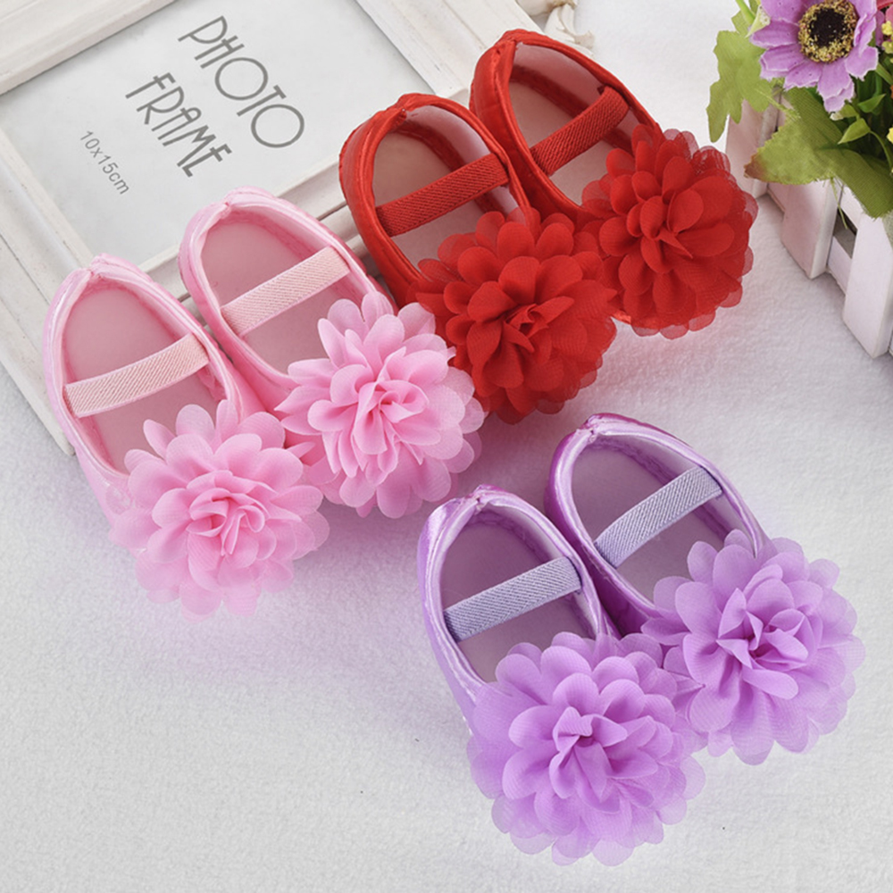 Toddler Baby Girl Cute Lace Flower Elastic Band Newborn Walking Shoes Girls Shoes Leisure Anti-Slip First Walk Shoes Summer