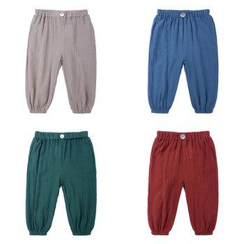 Elvesnest spodnie chłopięce letnie oddychające spodnie dla niemowląt bawełniana pościel dziecięce legginsy jednokolorowe ubrania dla dzieci 0-7 lat tanie i dobre opinie COTTON Linen CN (pochodzenie) Proste Unisex NONE Pełnej długości Pasuje prawda na wymiar weź swój normalny rozmiar