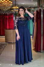 Elegant Scoop Cap Sleeves Chiffon Mother #8217 s Dress with 3 4 Sleeves Modest Long Formal Mother of the Bride Dress Evening Gown cheap lakshmigown Half Floor-Length A-Line REGULAR Appliques Lace 3003 Mother of the Bride Dresses vintage R0141 Standard Size or Custom Made