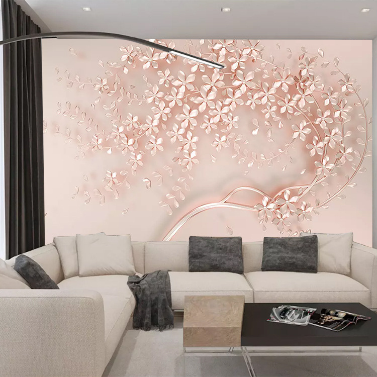European Style TV Backdrop Wallpaper 3D Living Room Decoration Mural Modern 5D Wallpaper 8D Seamless Film And Television Wall Cl