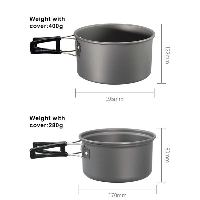 Panelas de acampamento kit leve mochila cozinhar