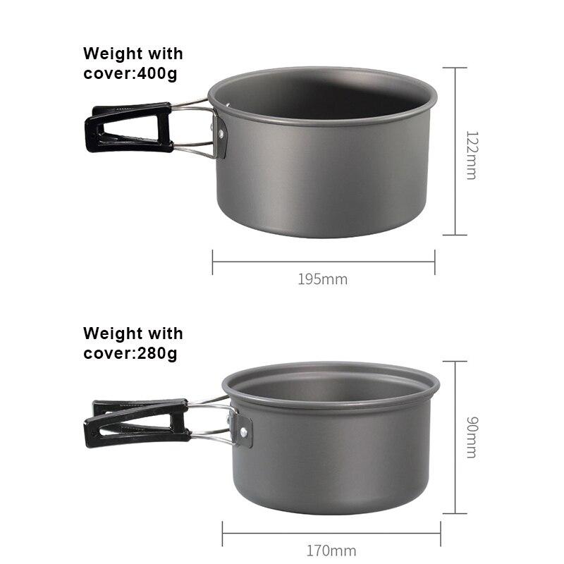 panelas de acampamento kit leve mochila cozinhar 04