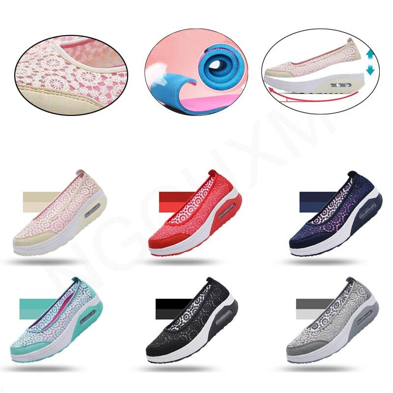 Image 3 - Ngouxm Summer Women Platform Shoes Woman lady Flat Casual Shallow Shoes Slip On Comfort Lace Black Fabric ShoesWomens Flats   -