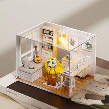 Diy Деревянные миниатюры для кукольного домика комплект кукольная мебель аксессуары Мини Кукольный дом Casa Бесплатная Пылезащитный чехол иг...
