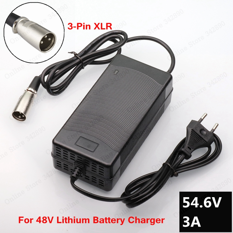 54.6V 3A Charger 54.6v 3A electric bike lithium battery charger for 48V lithium battery pack XLR Plug 54.6V3A charger