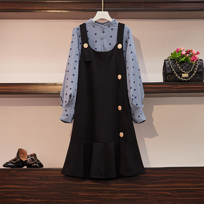 Grande taille printemps automne femmes bureau dame 2 pièces ensemble ensemble femme à pois blouse et robe ensemble femme élégante femmes tenues