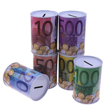 Picture-Box Piggy-Bank Euro Home-Decoration Household-Saving Creative Dollar 1pcs Tinplate-Cylinder