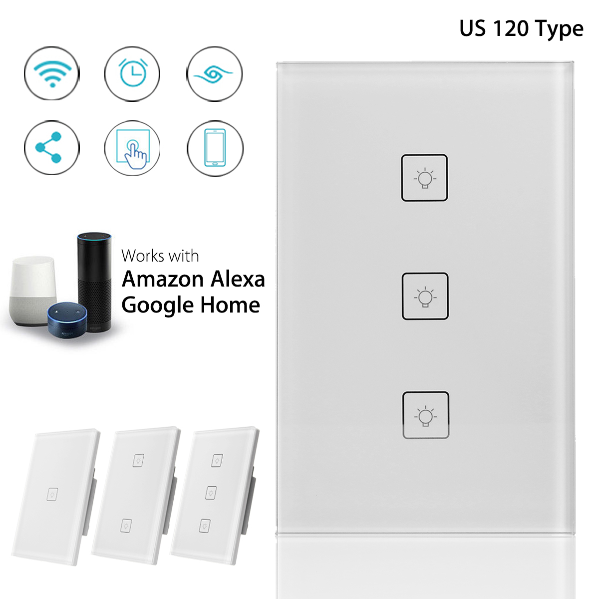 1/2/3 Gang Smart Panel Switches AC 110-240V 10A US Type APP Remote Control Wi-Fi Connection Switches For Google Home Alexa