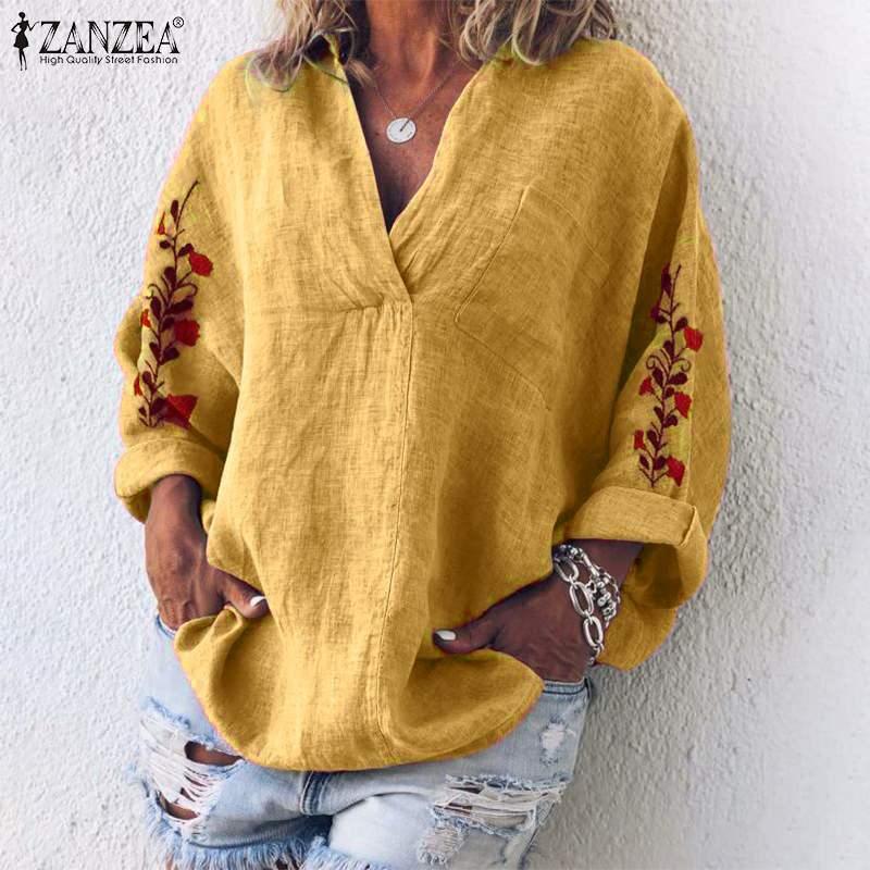 Women V Neck Long Sleeve Blouse Floral Embroidery Tops ZANZEA Autumn Cotton Linen Shirt Femme Robe Work Blusas Chemise Mujer 7