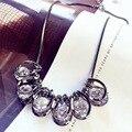 Luxus Weibliche Runde Kristall Anhänger Halskette Mode Schwarz Gold Halskette Elegante Liebe Hochzeit Halskette Für Frauen