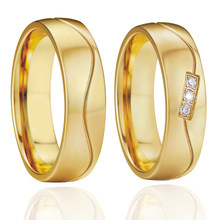 Handmade prong setting Gold color Alliances Wedding band Rings pair lovers Couple rings for women anel anillos bijoux(China)