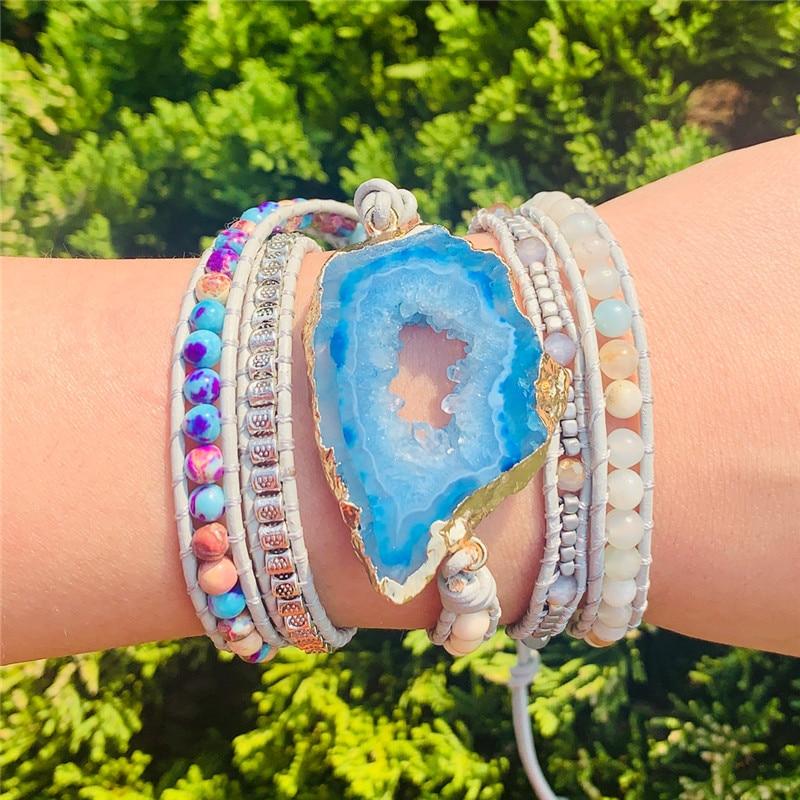 Boho Bracelet Natural Stones Charm 5 Strands Wrap Bracelets Handmade jewelry Dropshipping(China)