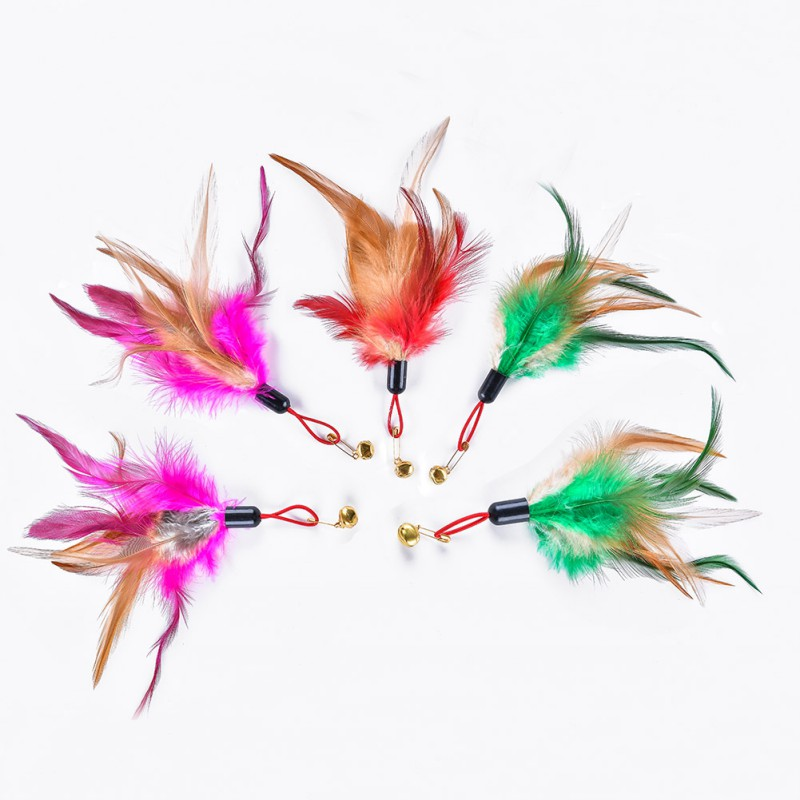5pcs/set Kitten Cat Teaser Wand Rod Chase Toys Replacement Refill Chicken Feather Worms Pet Interactive Training Toys Kitten Toy