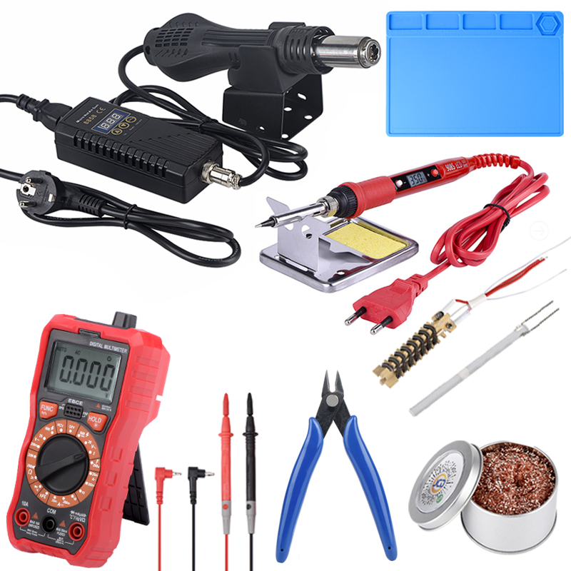 JCD Micro Hot Air Gun 8858 Digital Multimeter Portable BGA Rework Soldering Station ESD Insulation Solder Working Mat Heat Gun