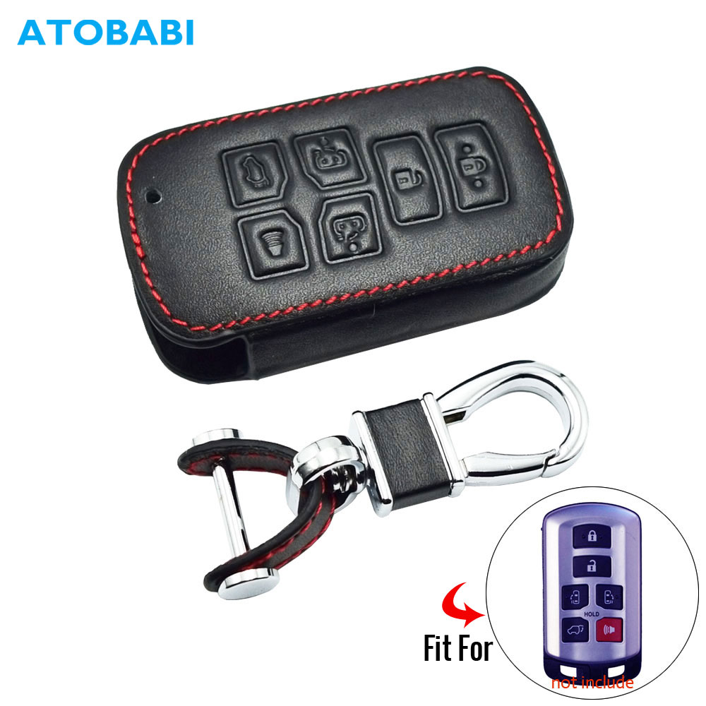 6 Buttons Leather Car Key Case For Toyota Sienna 2012 2014 2016 Tacoma Smart Keyless Remote Fob Cover Keychain Protector Bag