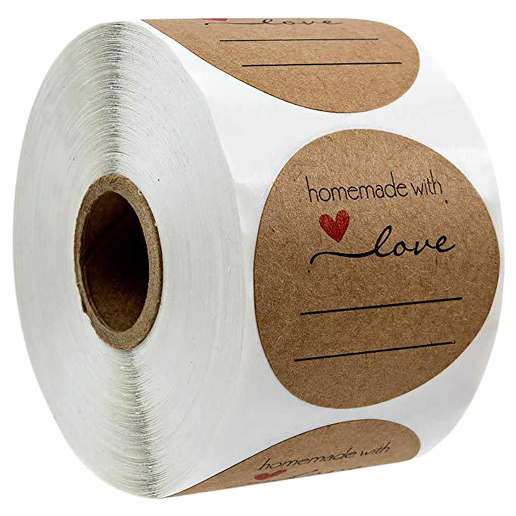 Round 1 Inch Natural Kraft Baked With Love Stickers / 500 Labels Per Roll