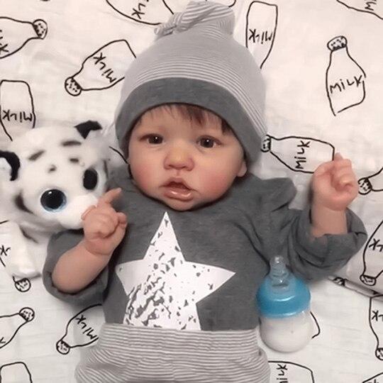22 zoll Daniel Rayburn Reborn Baby Puppe mit Voller Kleidung Diy Pädagogisches Spielzeug Puppen Mädchen Geschenk Drop Verschiffen-Tuch körper