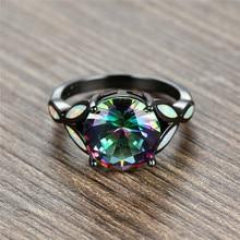 цена Charm Female Rainbow Colorful Big Round Ring Vintage Black Gold Wedding Rings For Women Promise White Fire Opal Engagement Ring онлайн в 2017 году