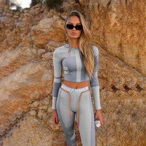 Image 2 - Women Fitness Two pieces set Female Tracksuits Long Sleeve Crop Top Letters Print Elastic Skinny Leggings Sportswear Slim Outfit