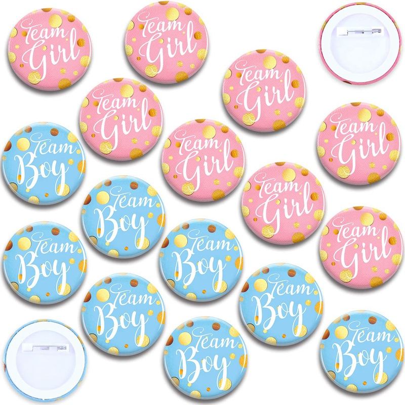 60-Piece Gender Display Pin Boy and Team Girl Button Pin Baby Shower Button Pink Button for Baby Party Party Supplies-0