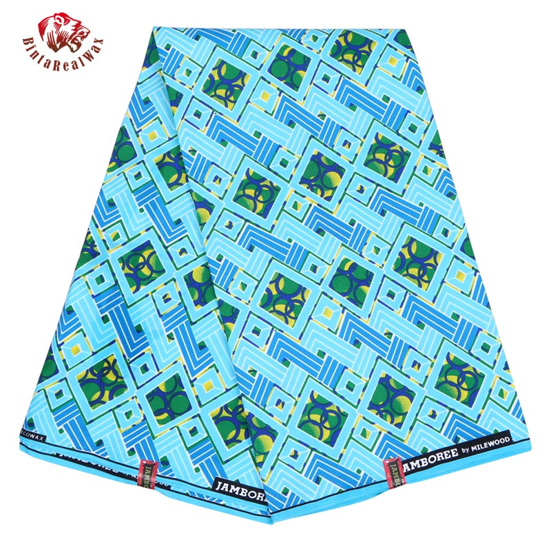 Ankara African Wax Print Polyester Fabric 2019 Blue Batik Kente Fabric Ankara BintaRealWax 6 Yard Fabric for Party Dress FP6181
