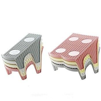 1 estante de zapatos de ratán de Lmitation con doble pantalla de ahorro de espacio organizador de zapatos de plástico estante de almacenamiento de varios colores y durable