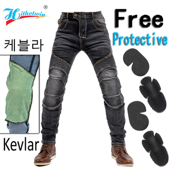2020 Men Motorcycle Pants Kevlar Moto Jeans Protective Gear Riding Touring Black Motorbike Trousers Blue Motocross Jeans - Hi-03 Slim Black C, XXXXL