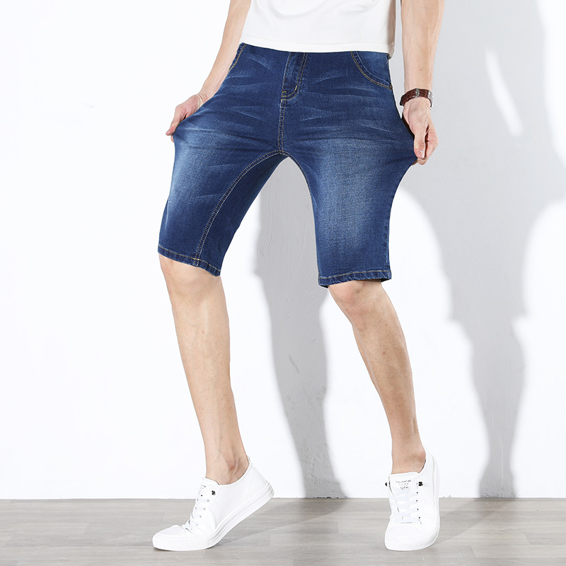 Summer Classic Men's Short Jeans Stretch Korean Version Thin Casual Pants Male Work Business Denim Jean Shorts