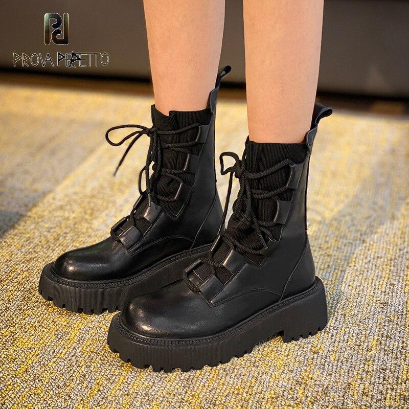 2020 outono/inverno novo grosso solado rendas up finas meias britânicas botas femininas de couro genuíno emagrecimento plataforma moda botas|Botas torn.|   -