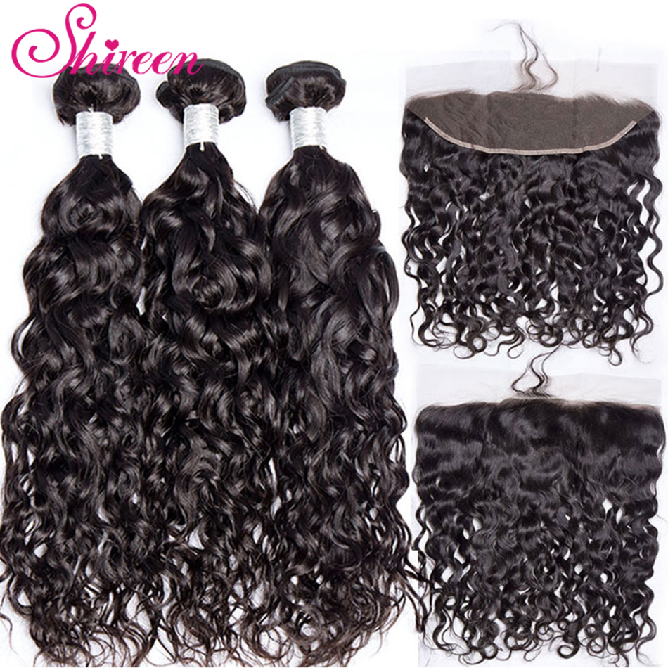 Shireen Non-Remy Human Hair Weave Free Part Lace Frontal With Bundles Deal Brazilian Water Wave 3 Bundles With 13*4 Lace Frontal