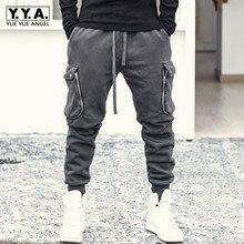 Men Spring Multi-pockets Cargo Pencil Pants Elastic Waist Loose Fit Sweatpants High Street Casual Black Trousers Male M-2XL