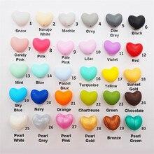 Chengkai 100 шт силиконовые бусины в форме сердца DIY Детские Соска для купания бижутерия для прорезывания зубов игрушки аксессуары жевательные делая шарик