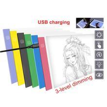 1Pc A4 alimentato tramite USB tavolo da disegno a LED ultrasottile Aritist Tattoo Stencil Board Light Box tracciamento tavolo da disegno tavolo dimmer a 3 livelli