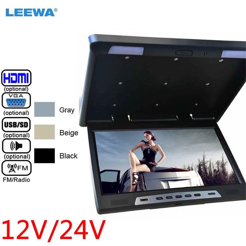 ЖК монитор LEEWA для автомобиля, 12 В/24 В, 22 дюйма, HD, на крышу, с откидной сенсорной кнопкой, HDMI, USB, SD, FM, VGA, черный, серый, бежевый