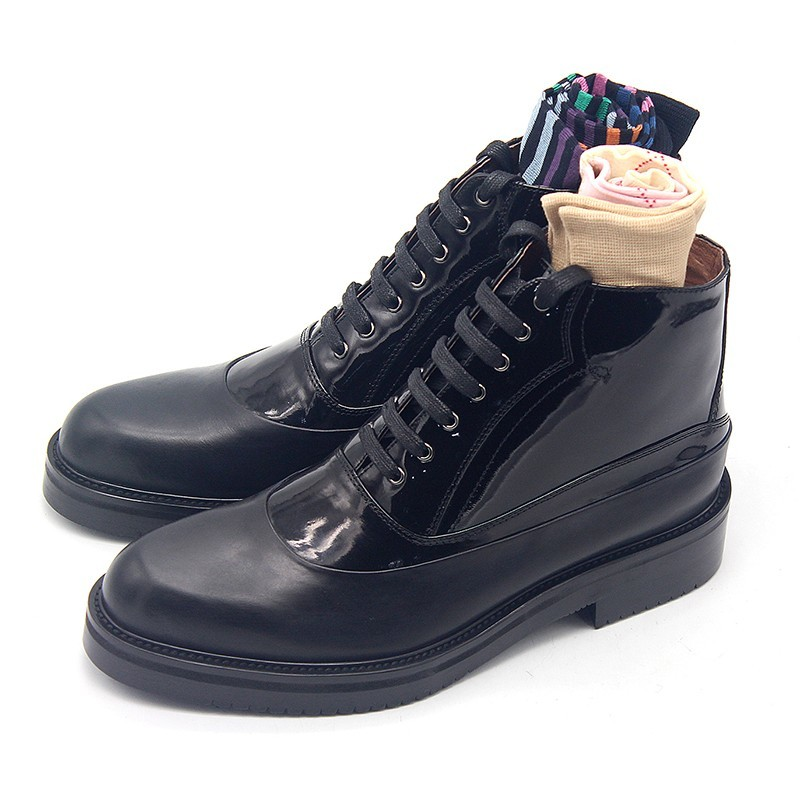 Top Brand Mens Thick Platform Lace Up Oxfords Handmade Cowhide Real Leather Military Boots Height Increasing Motor Biker Shoes