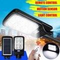 Светодиодный уличный фонарь на солнечной батарее 60 Вт с дистанционным управлением  настенный светильник с датчиком движения IP65 Водонепрон...