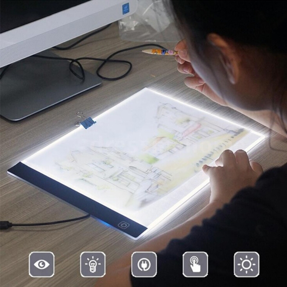 A4 LED Painting Tracing Board Copy Pad Panel Drawing Tablet Art Stencil Smart Brightness Memory Function High Transparency