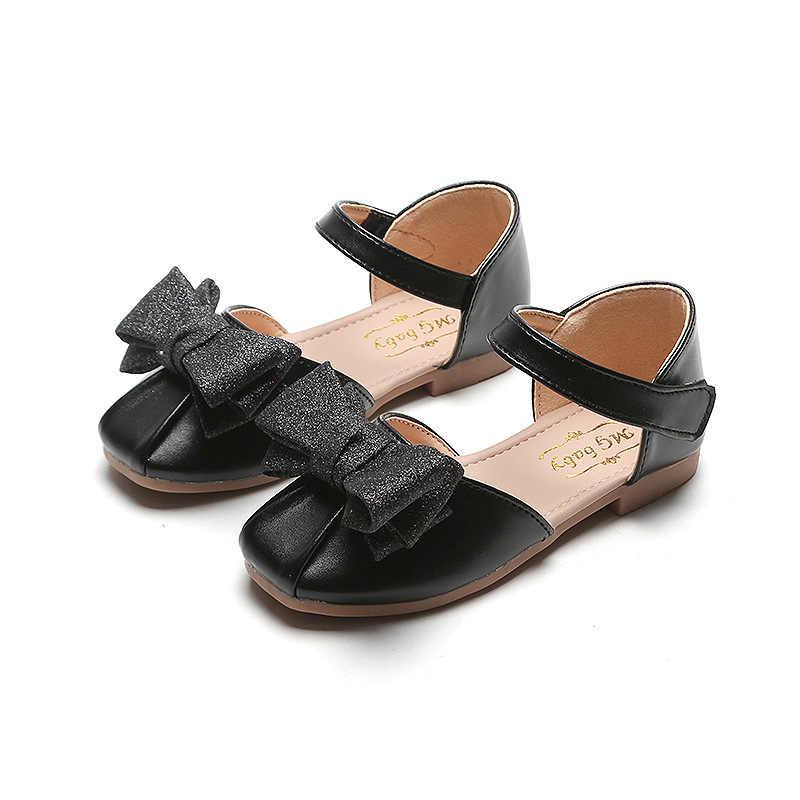 2020 เด็กใหม่รองเท้าแตะเด็กรองเท้าลื่นรองเท้ารองเท้าฤดูร้อนแฟชั่นโบว์เด็กรองเท้าแตะสีดำทองเงิน